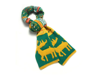 Woodland Reindeer Knit Scarves Forest Green Sales