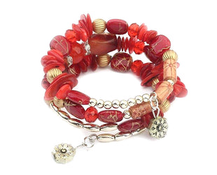Red Hues Popping Brilliance Layered Boho Bracelet
