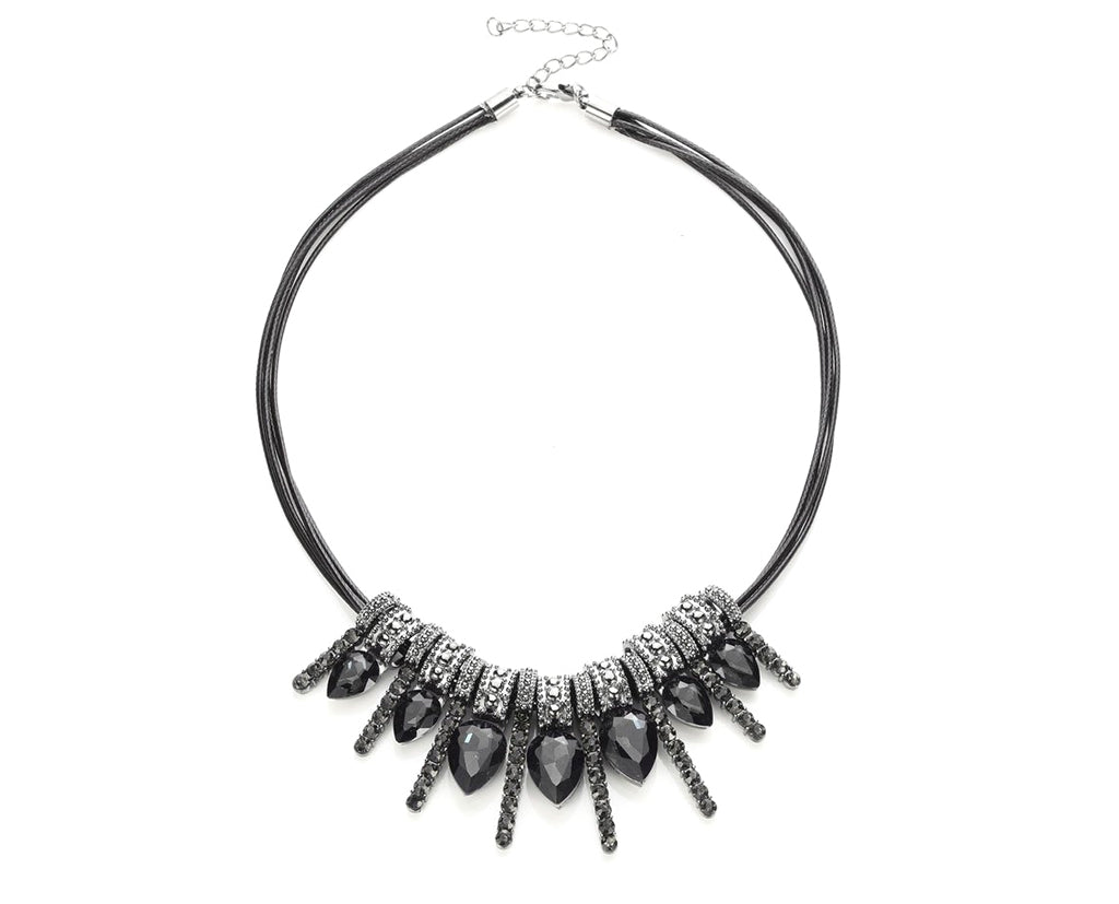 Space Grey Drop Diamond Bar Statement Necklace