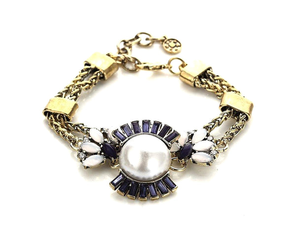 Blue & White Sleek Statement Bracelet