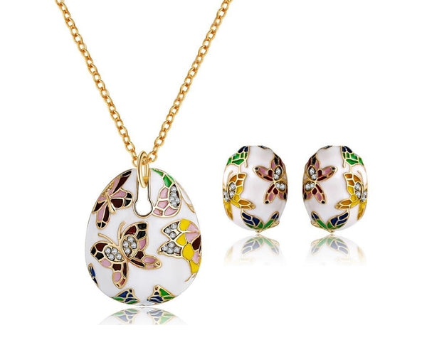 Butterfly Teardrop Pendant and Earring Set