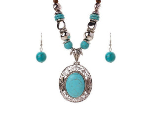 Antique Hollow Coconut Shell Turquoise Necklace Set