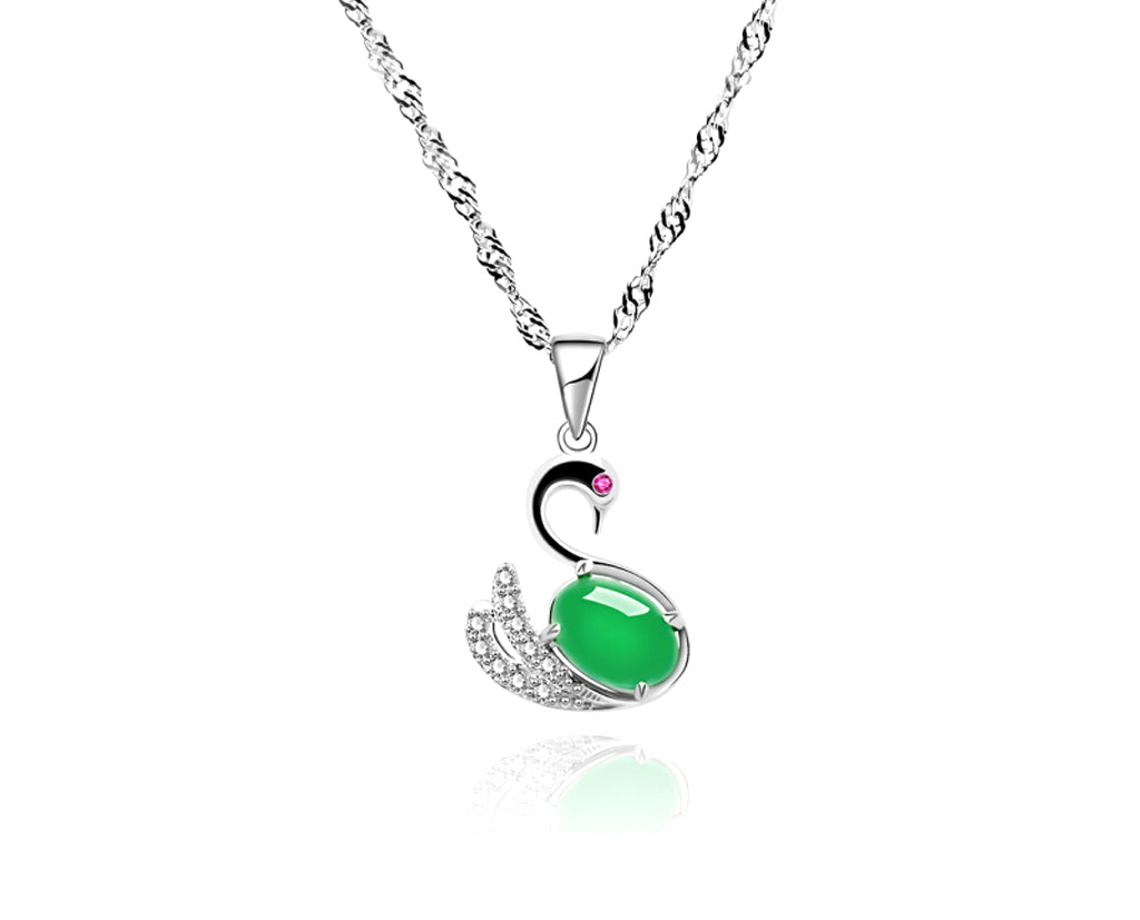 Solitary Swan Malachite Pendant With Designer Chain Necklace