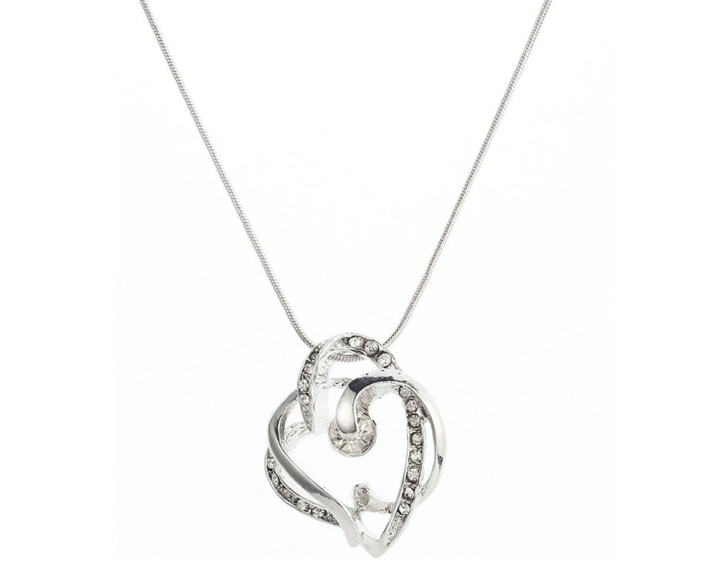 Intertwined Austrian Crystals Drop Heart Necklace