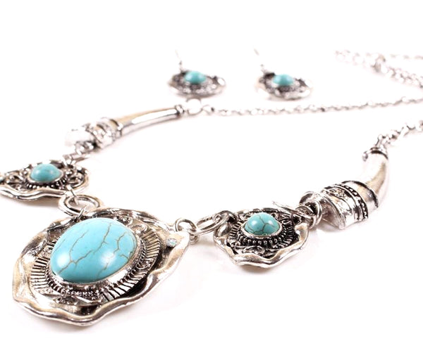 Tribal Muse Stamped Metal Turquoise Necklace Set