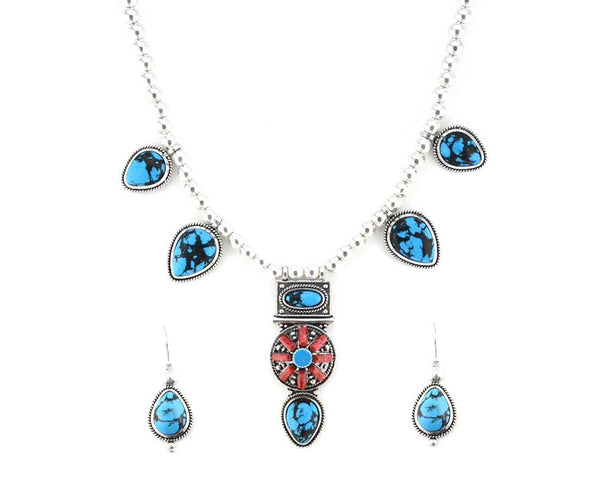 Boho Chic Deep Blue Turquoise Necklace Set