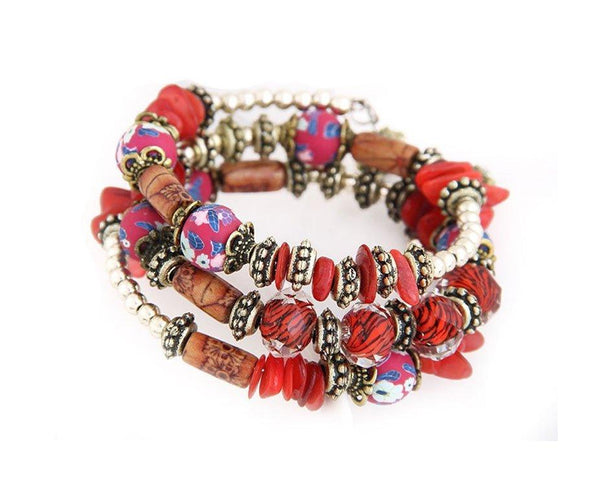 Hand Painted Red Boho Multi Layer Beaded Bracelet