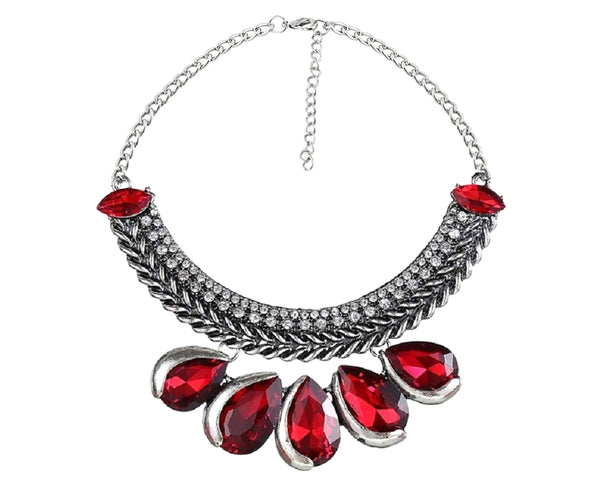 Marquise Cherry Red Tear Drop Bling Statement Necklace