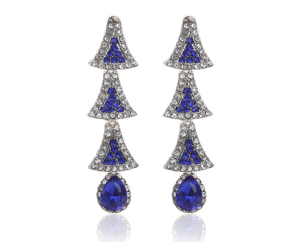 Christmas Tree Earrings-Sapphire