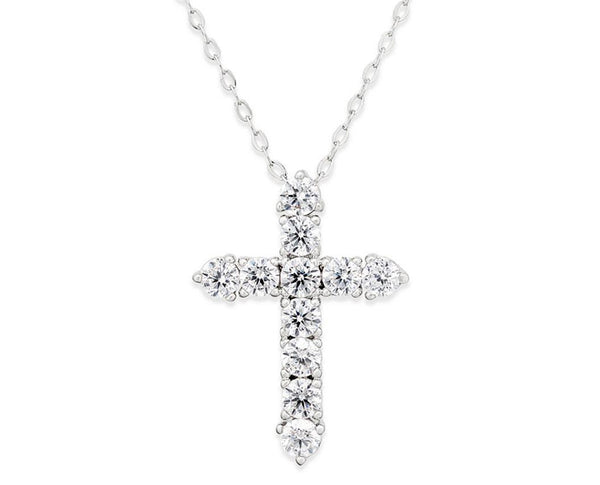 Cubic Zirconia Silver 925 Cross Pendant Necklace