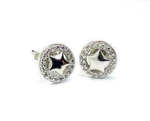 Star And Crystal Stud Earrings