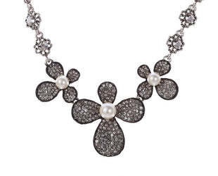 Dream Pave Pearl Petal Crystal Statement Necklace