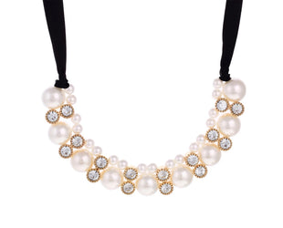 Crystal embedded Princes Pearl Necklace