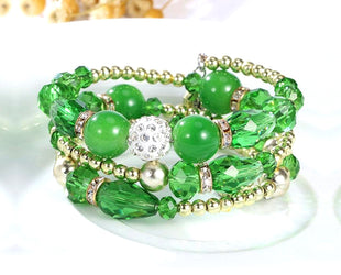 Sensual Green Captivating Multi layered Crystal Beaded Boho Bracelet