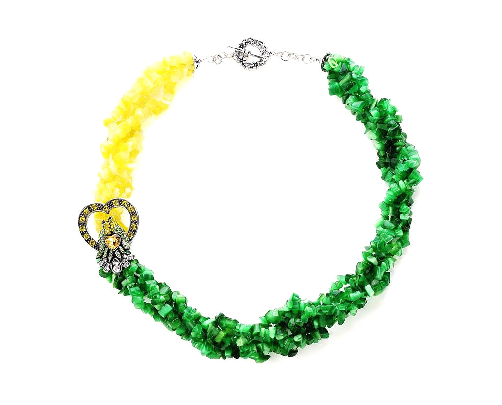 Luxe Love Bird Two Tone Beaded Necklace