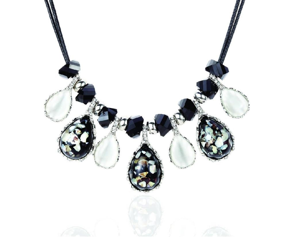 Opal Crystal Specks Statement Necklace