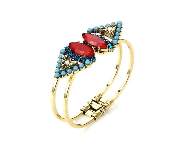 Turquoise - Red Trigon Crystal Fancy Bracelet styled Bangle