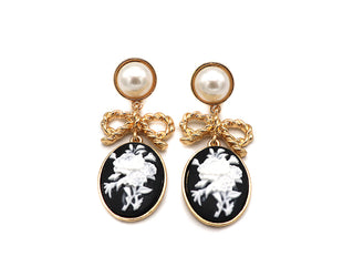 Floral Bouquet Cameo Drop Earrings
