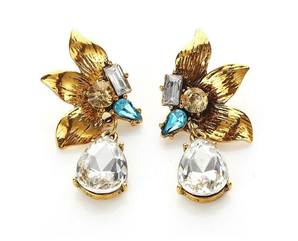 Aquamarine Diamante Gold Leaf Coil Drop Earrings