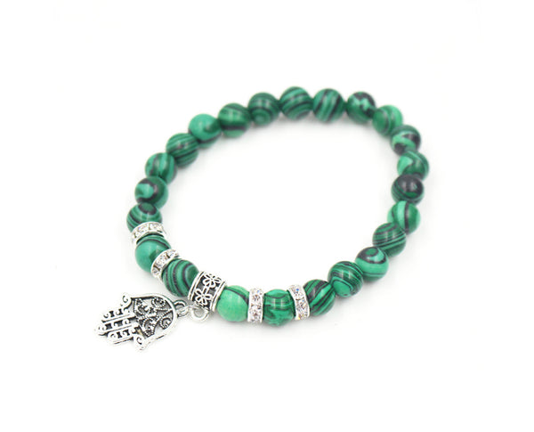 Malachite Bead and Hamsa Charm Bracelet