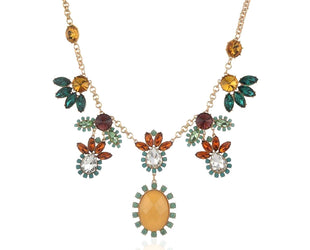 Symmetrical Multicolored Floral Necklace