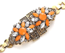 Classic Multi-Colored Crystal Floral-Inscribed Bracelet