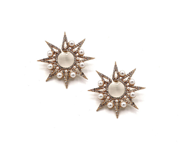 Pearl and Rhinestone Sunburst Earrings