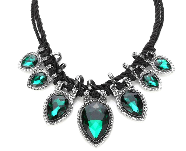 Leaf Green Braided Rope Statement Necklace