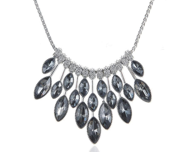 Grey Eclair Gloss High Low Statement Necklace