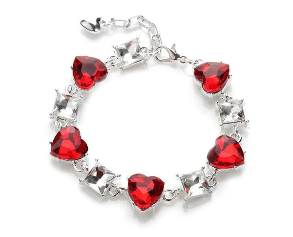 Red Heart Gem Tennis Bracelet