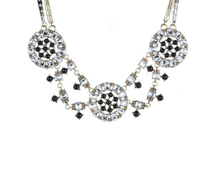 Retro Queen Geometric Crystals Statement Necklace