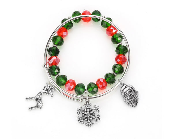 Holidays Snowflake Santa Bangle Set