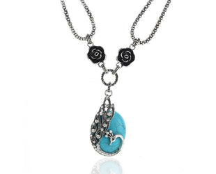 Rhinestone Peacock and Turquoise Necklace