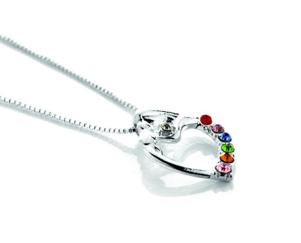 Mother And Child Silver Gem Abstract Necklace