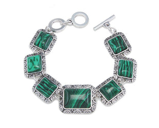 Rectangular Malachite and Silver Bracelet