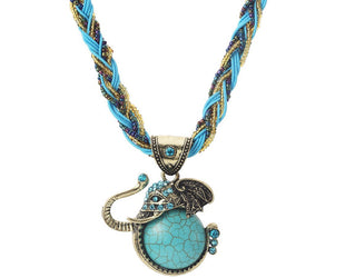 Wise Turquoise Elephant Necklace