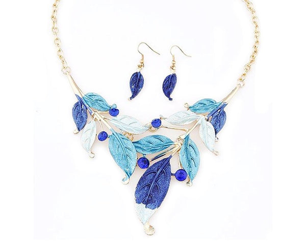 Aquatic Blue Fall Leaves Necklace Set