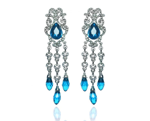 Luxurious BLue Chandelier Drop Earrings