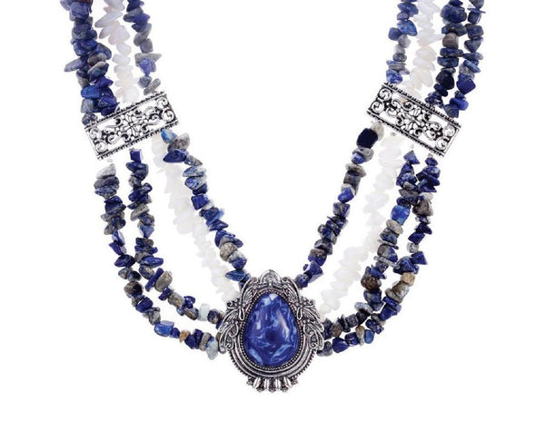 Antique Silver and Deep Blue Pendant Necklace