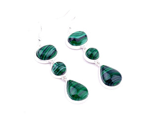 Dangling Malachite Earrings