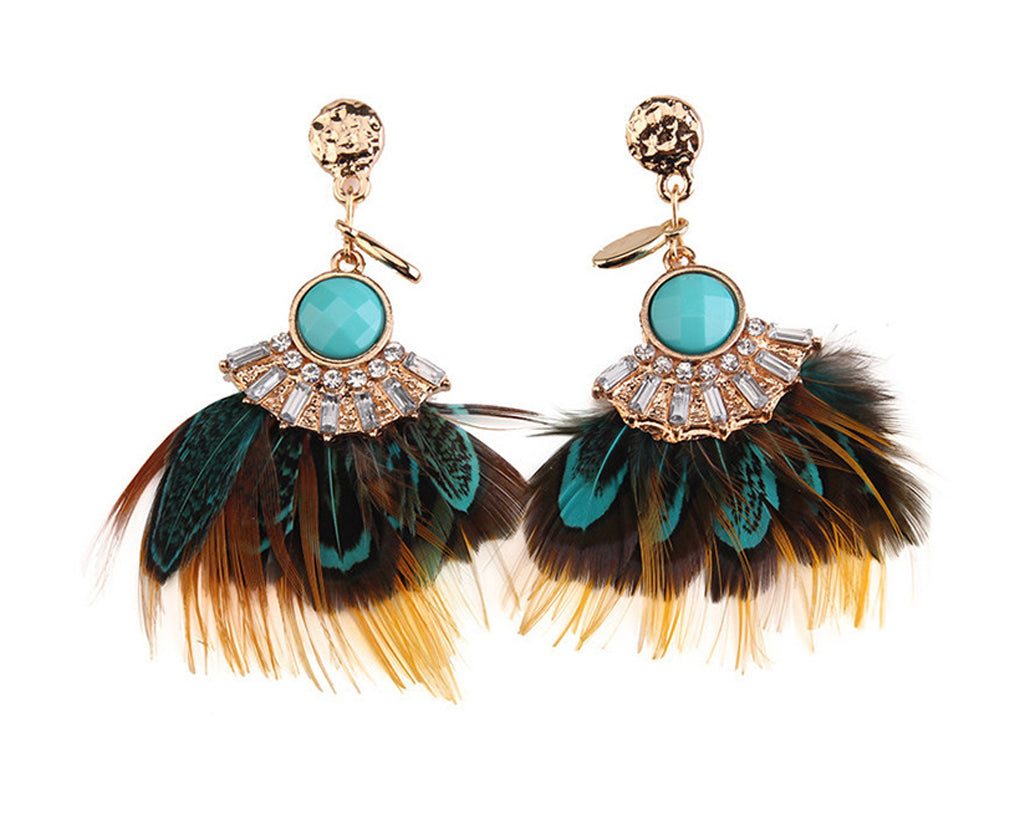 Chic Feather And Rhinestone Dangling Earrings
