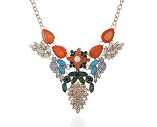 Colorful Ornate Costume Necklace