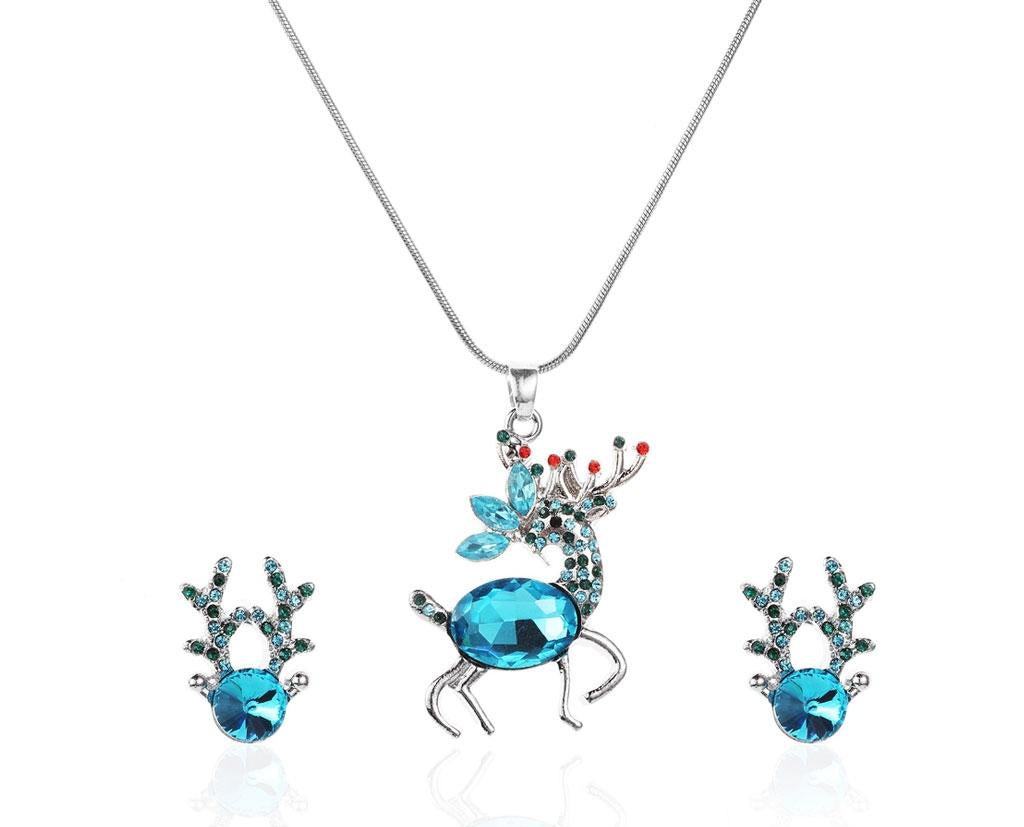 Festive Aquamarine Reindeer Holiday Set