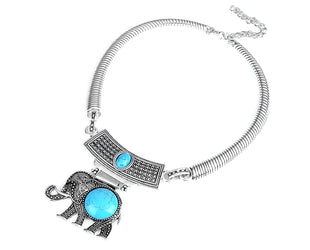 Turquoise Elephant Choker Style Necklace
