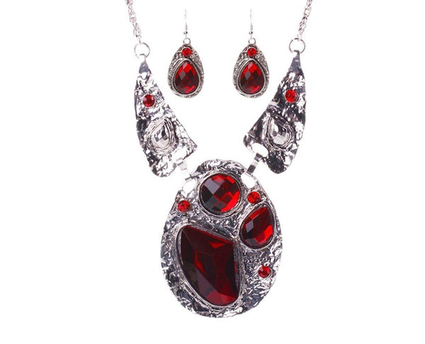 Ruby Red Statement Necklace Sales