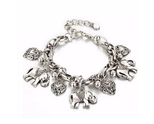 Elephant Leaf and Charm Heart  Bracelet