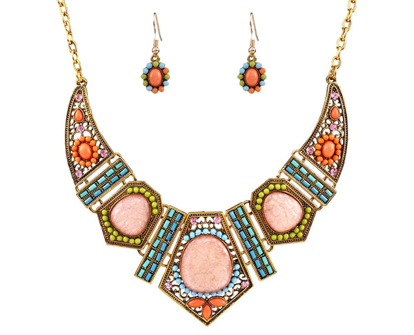 Tribal Society Multi Bead Pastel Hues Geometric Statement Necklace Set