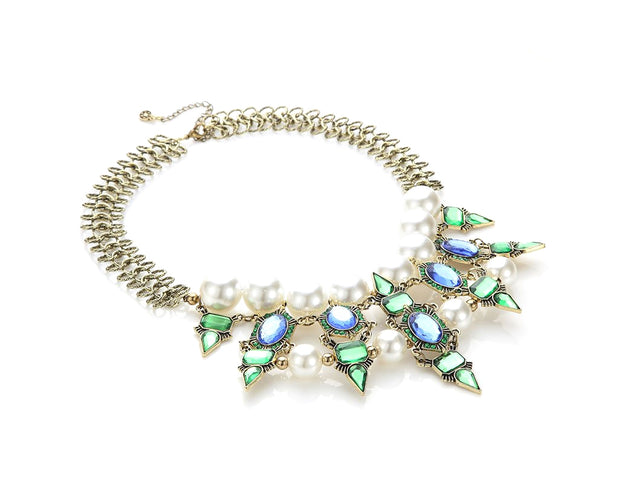 Alexandria Emerald Princess Pearl Statement Necklace