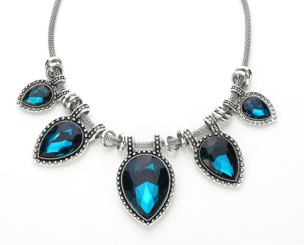Leaf Water Drop Diamond Antique Statement Necklace
