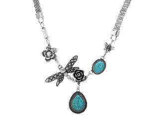 Dragonfly Turquoise Teardrop Necklace